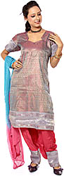 Gray and Magenta Brocaded Salwar Kameez Fabric with Mokaish Work