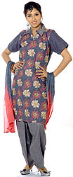 Gray Salwar Suit Fabric with All-Over Floral Ari Embroidery and Crystals
