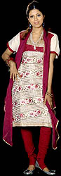 Ivory and Purple Designer Salwar Kameez Fabric with Persian Embroidery and Sequins