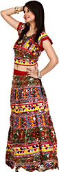 Multi-Color Lehenga Choli from Kutch with All-Over Multi-Thread Embroidery and Mirrors