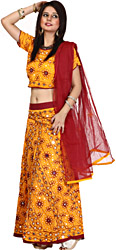 Mustard and Maroon Lehenga Choli from Rajasthan with Embroidered Flowers and Sequins