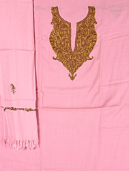 Pink Salwar Kameez Suit Fabric and Stole from Kashmir with Ari Embroidery by Hand