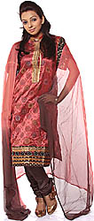 Redwood Salwar Suit with Bootis Woven in Silver and Golden Thread