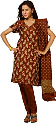 Russet-Brown Banarasi Brocaded Salwar Suit Fabric with All-Over woven Paisleys