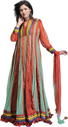 Rust Bandhani Printed Designer Gown with Patch Border