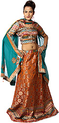 Beaded Lehenga in Banarasi Brocade, Multi-colour Choli and Chiffon Dupatta