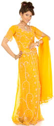 Amber Wedding Lehenga Choli with Beadwork and Sequins