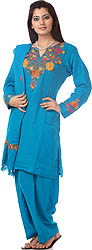 Turquoise Kashmiri Salwar Kameez with Ari Embroidery by Hand