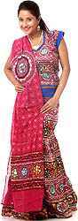 Pink Ghagra Choli from Kutch with Embroidered Sequins and Embroidery