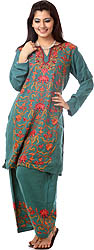 North-Sea-Green Kashmiri Salwar Kameez with Ari Embroidery by Hand