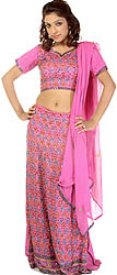 Respberry-Rose Wedding Lehenga Choli with Beadwork by Hand All-Over