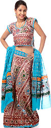 Robin-Egg Blue Ghagra Choli from Kutch with Embroidered Sequins and Embroidery