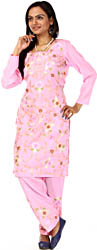 Pink Two-Piece Kashmiri Salwar Kameez with Floral Embroidery