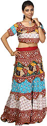 Tri-color Two Piece Printed Lehenga Choli Set from Kutch with Sequins and Beadwork