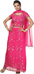 Fandango Pink Bridal Lehenga Choli with Thread Work and Sequins