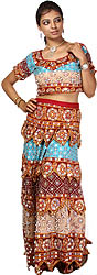 Tri-color Printed Lehenga Choli from Kutch with Sequins and Faux Pearls Embroidered by Hand