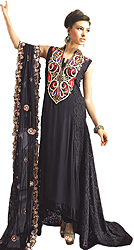 Black Designer Three Piece Gown with Embroidered Beads on Neck and Self Weave