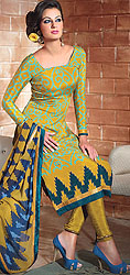 Apple-Green Printed Choodidaar Kameez Suit with Embroidered Beads