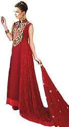 Mars-Red Bridal Long Salwar Kameez Suit with Zardozi Embroidery on Neck by Hand