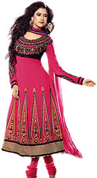 Dubarry-Pink and Black Anarkali Suit with Metallic Thread Embroidered Sequins and Patch Border