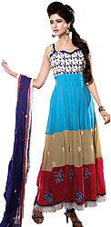 Tri-Color Long Choodidaar Kameez Suit with Ari Embroidered Flowers and Crochet Border