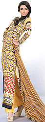 Pastel-Yellow Lehria Long Salwar Suit from Pakistan with Printed Chiffon Sleeves and Silk Border