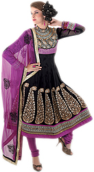 Black Anarkali Suit with Dense Metallic Thread Embroidered Flowers on Neck