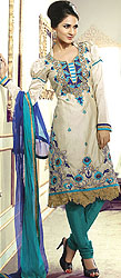 Feather-Gray Choodidaar Kameez Suit with Ari-Embroidered Flowers and Cutwork Border