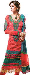 Hot Coral Choodidaar Kameez Suit with Self-Colored Embroidery and Crochet Border