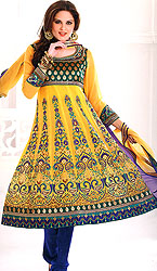 Daffodill-Yellow Anarkali Salwar Suit with Metallic Thread Embroidered Paisleys and Beadwork