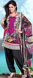 Random Printed Salwar Kameez Suit with Crewel Embroidered Flowers on Neck and Crochet Border