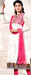 Ivory and Pink Anarkali Suit with Self-Colored Embroidery and Velvet-Applique Patch Border