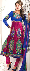 Magenta and Blue Choodidaar Kameez Suit with Metallic Thread Embroidery and Patch Border