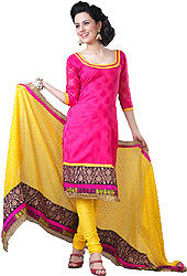 Hot-Pink Chanderi Choodidaar Kameez Suit with Embroidered Floral Border and Self Weave