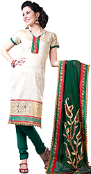 Beige and Green Choodidaar Kameez Suit with Sequins Embroidered on Neck