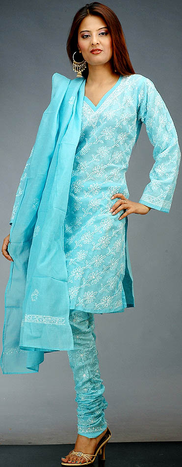 Sky Blue Choodidaar Chikan Suit From Lucknow With Sequins
