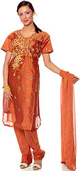 Rust Chanderi Suit with Floral Embroidery and Sequins