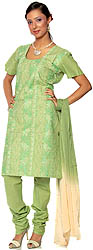 Tea-Green Salwar Suit Fabric with All-Over Embroidery and Crystals