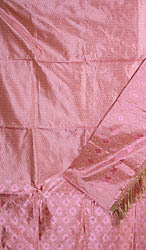 Pink Banarasi Kora Silk Suit with All-Over Thread Weave