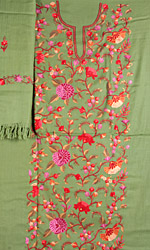 Vineyard-Green Suit from Kashmir with All-Over Floral Ari Embroidered Flowers by Hand