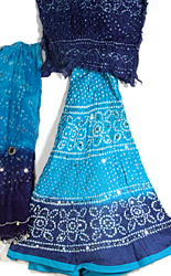 Blue Shaded Bandhani Lehenga Choli with Sequins