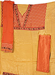 Sandstone and Rust Banarasi Salwar Suit with Brocade Weave and Patchwork