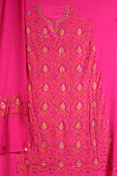 Fuchsia Kashmiri Salwar Suit with Intricate All-Over Sozni Embroidery by Hand