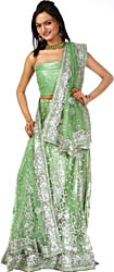 Tea-Green Bridal Lehenga Choli with Hand-Embroidered Beads and Sequins