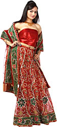 Bridal Red Lehenga Choli with Hand-Embroidered Flowers and Zardozi Work