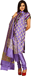 Lavender Banarasi Suit Fabric with All-Over Woven Paisleys