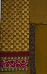 Mustard Banarasi Brocaded Salwar Kameez Fabric with Brocaded Circles and Patch Border