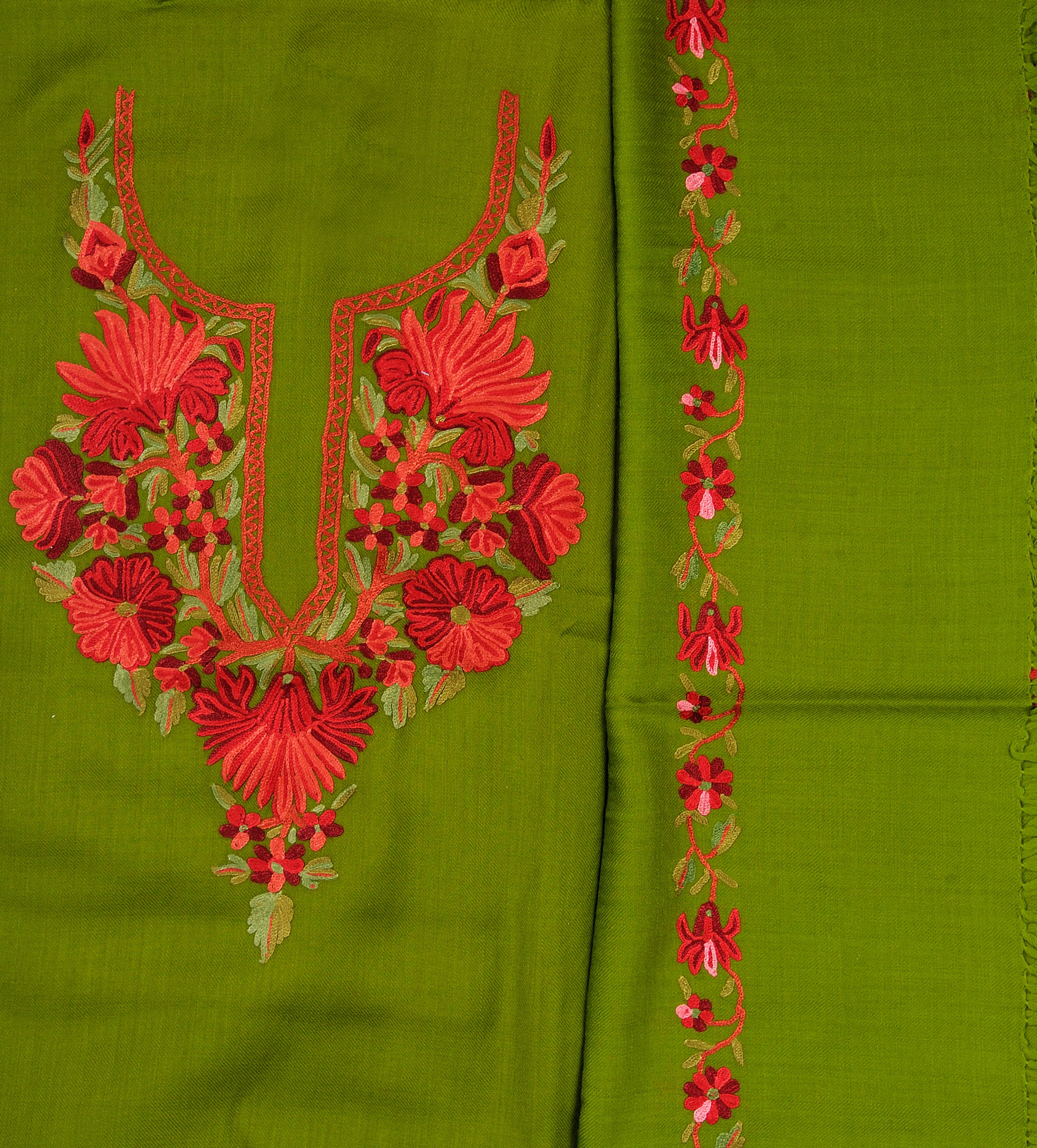Fluorite Green Salwar Kameez Fabric From Kashmir With Hand Embroidery On Neck