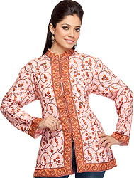 Pink Kashmiri Jacket with Hand-Embroidered Paisleys All-Over