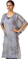 Foster-Gray Short Kaftan from Kashmir with Ari Embroidered Paisleys